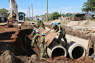 United Nations Mission in South Sudan - JGSDF soldiers work on making a paved road in an engineering operation.