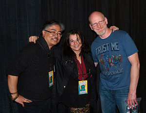 Ann Nocenti - Nocenti with Whilce Portacio and Arthur Adams at the 2015 East Coast Comicon, during the 30th anniversary year of their collaboration on Longshot, and the first time they had appeared in public together since publication of that miniseries