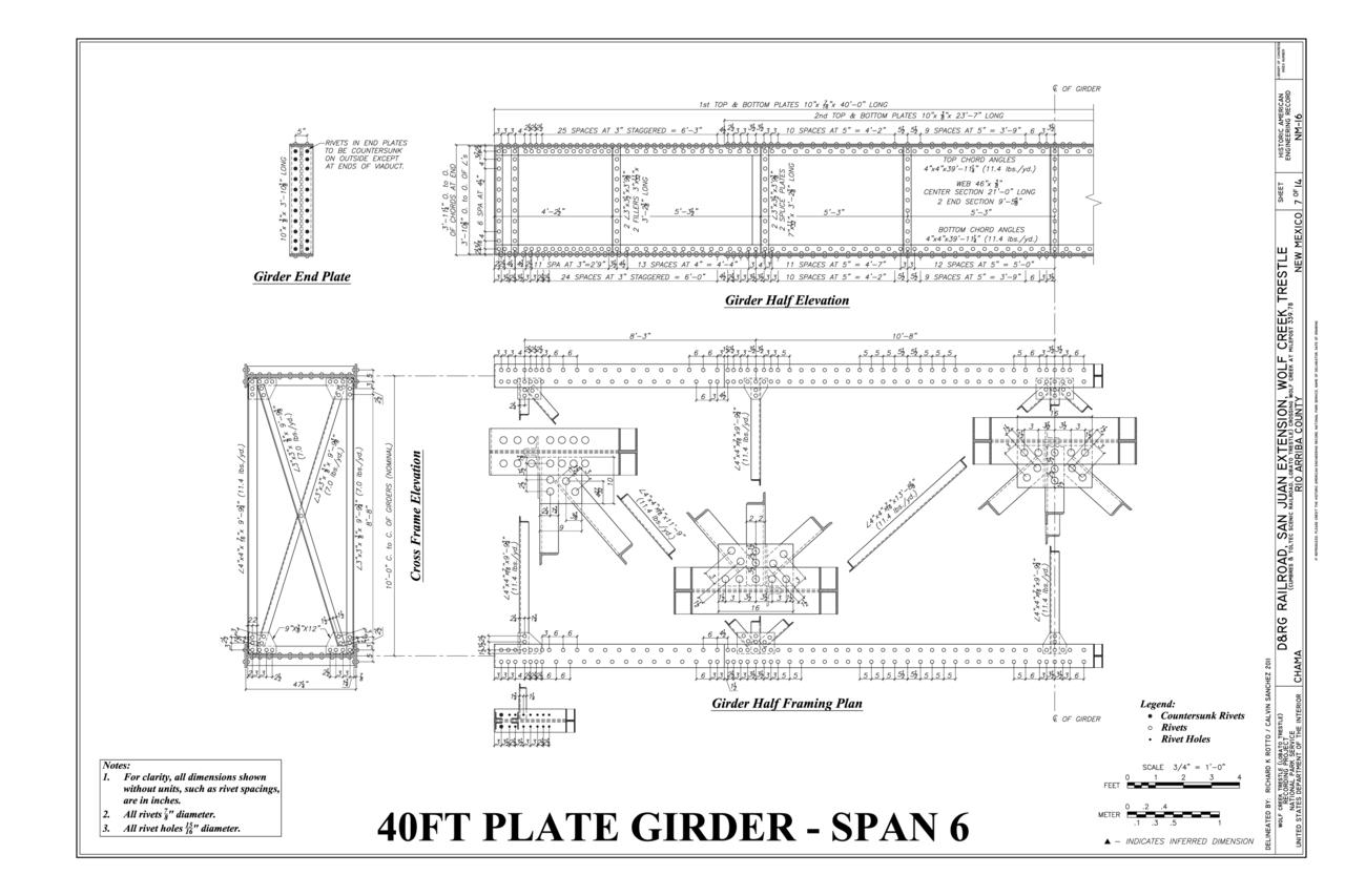 File:40 FT Plate Girder-Span 6- Half Elevation, Half Framing Plan ...