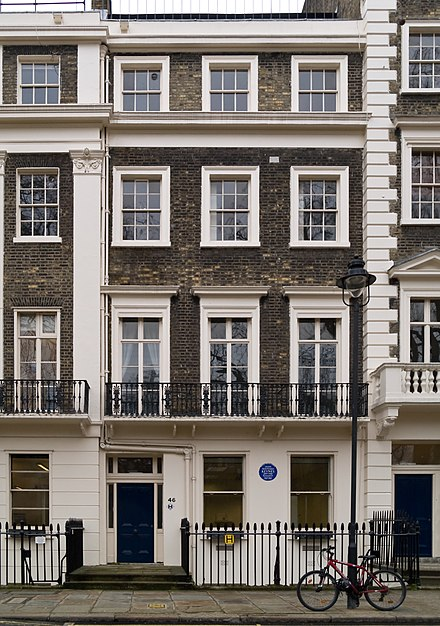 46 Gordon Square, where Keynes would often stay while in London. Following his marriage, Keynes took out an extended lease on Tilton House, a farm in the countryside near Brighton, which became the couple's main home when not in the capital. 46 Gordon Square London.jpg