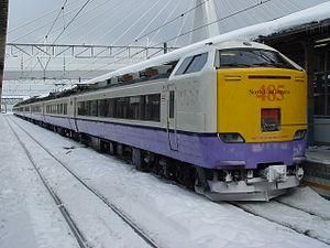 Hakuchō (train) - A 485-3000 series EMU on a Hakuchō service at Aomori Station in January 2003