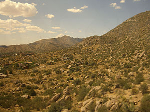 The Sandia Mountains, as seen from the Sandia ...