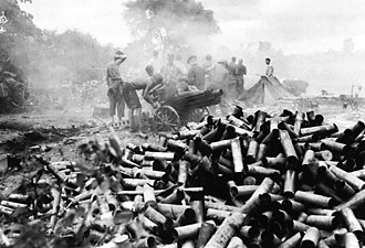 Siege of Myitkyina - An American M1A1 75-mm pack howitzer supports GALAHAD's operations at Myitkyina.