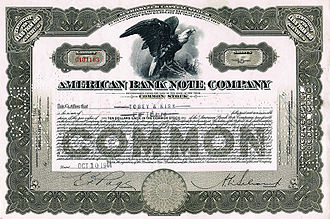 ABCorp (American Banknote Corporation) - American Bank Note Company, Share certificate (1944)