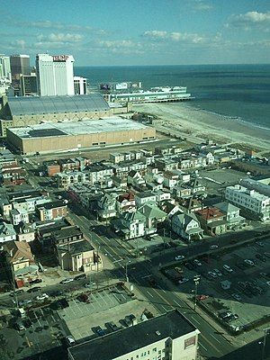 Boardwalk Hall - View of Atlantic City Boardwalk Hall and ocean, 2011