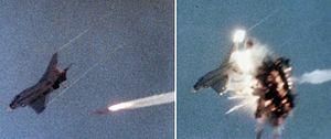 AIM-54 Phoenix - An AIM-54 hitting a QF-4B target drone, 1983.