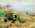 ARTISTS MATHIAS SCHIF AND CAMILLE MARTIN SITTING IN THE COUNTRYSIDE.png