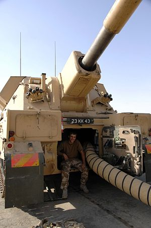 J (Sidi Rezegh) Battery Royal Horse Artillery - J Battery, 3rd Regiment, Royal Horse Artillery fire rounds to calibrate their AS-90 155 mm self-propelled guns in Basra, Iraq, August 28, 2008.