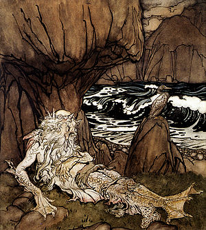 Merman - A Crowned Merman, by Arthur Rackham