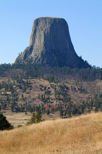 Intrusive rock - Devils Tower, an igneous intrusion exposed when the surrounding softer rock eroded away