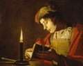 A Young Man Reading by Candlelight (Matthias Stom)