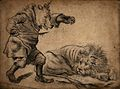 A bear wearing a crown creeping up on a lion Wellcome V0049584.jpg