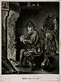 A man sits filling his pipe by the fire, behind a man relieves himself against the wall. Wellcome V0019050.jpg