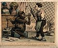 A monkey rejects the old style clyster for his new 'clyso-pompe', which he fills with opium and marshmallow Wellcome V0011775.jpg