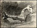 A reclining male nude. Black chalk drawing by J.J. Masquerie Wellcome V0048975.jpg