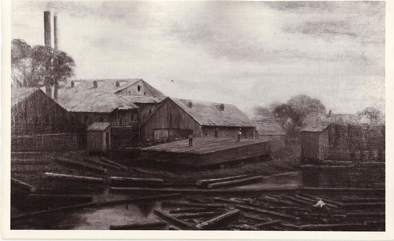 File:A reproduction of a painting of the Rathbun Company's 1850s sawmill at Mill Point (later Deseronto). This mill was built in 1848 and was destroyed by fire in September 1872. (3233538315).jpg