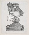 A skeleton with her back turned wearing a coat and hat, from a broaside entitled 'La Calavera de Cupido', published by Antonio Vanegas Arroyo. MET DP869221-1.jpg