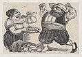 A woman eating and a man facing her with an angry expression and raised fists, from a broadside entitled 'Loa dicha por Sancho Panza y Doña Cenobia en honor de la Pureza de Maria Santisima' MET DP869365.jpg