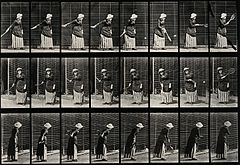 A woman hitting a tennis ball. Photogravure after Eadweard M Wellcome V0048669.jpg