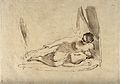 A woman lying down breast-feeding her baby. Etching by F. Ba Wellcome V0015014.jpg
