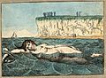 A woman swimming in the sea; in the background people are lo Wellcome V0020049.jpg