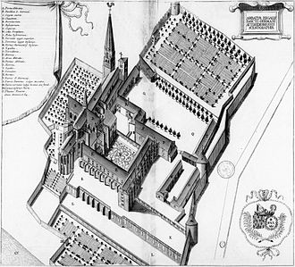 Abbey of Saint-Germain d'Auxerre - Abbey in 17th century.