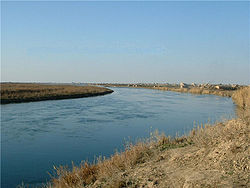 The Euphrates river seen from Al-Bukamal
