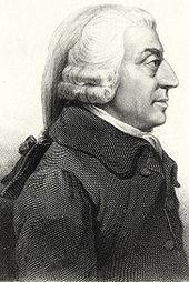 Profile painting of Adam Smith, done in pencil.