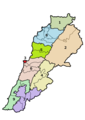 Administrative divisions of Lebanon 2017-08 (Numbered).png