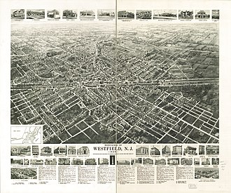 Westfield, New Jersey - Panoramic map of Westfield with inset images and listings of landmarks (1929)