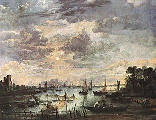 River landscape with ships by moonlight