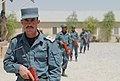 Afghan National Police recruits in the Basic Patrolman course practicing a patrol formation at the Regional Training Center, Kandahar.jpg