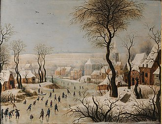 Winter Landscape with Ice skaters and Bird trap - Image: After Pieter Brueghel II The Bird Trap 127001 (cropped)