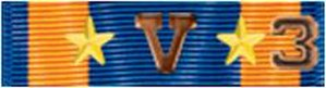 "Strike/Flight numerals - Air Medal ribbon bar with two gold 5/16 inch stars, Combat ""V"", and Strike/Flight Numeral 3"