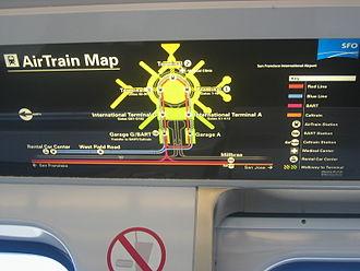 AirTrain (San Francisco International Airport) - System map inside AirTrain car