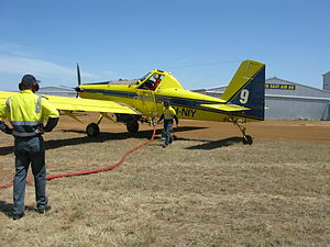 Department of Environment and Conservation (Western Australia) - Western Australian DEC Air Tractor 602 water bomber, based in Albany on reloading at Esperance airport in November 2009