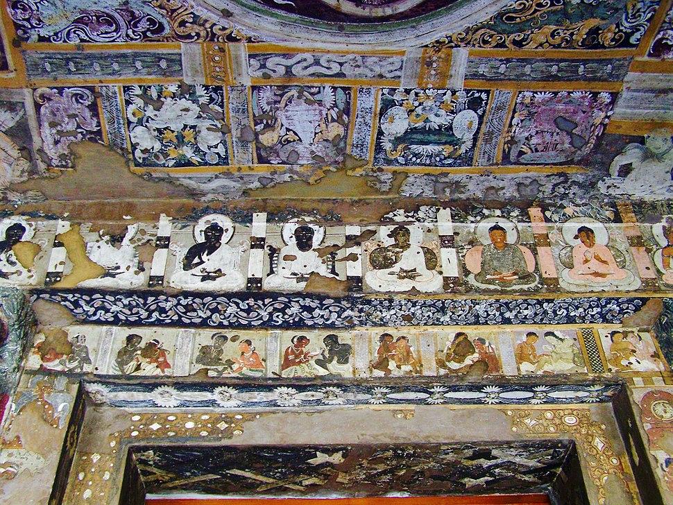 Ajanta cave 17, frescoes above a lintel