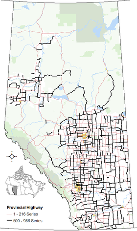 The alignments of the 500 - 986 series of highways within Alberta's provincial highway system within other base features including hydrography, national/provincial parks, cities and city equivalents, and the provincial green and white zones.