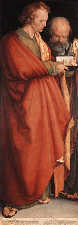John the Evangelist and Peter by Albrecht Durer (1526) Albrecht Durer - The Four Holy Men (John the Evangelist and Peter) - WGA7025.jpg