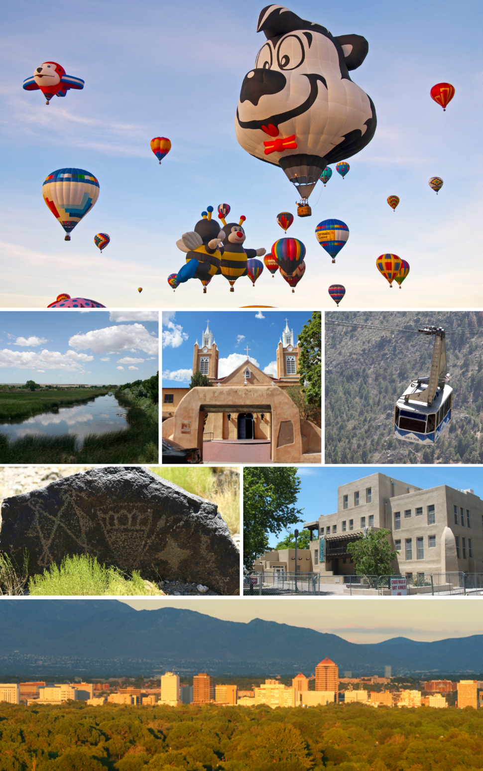 From top, left to right: International Balloon Fiesta; Rio Grande Wetlands; San Felipe de Neri Church; Sandia Peak Tramway; Petroglyph National Monument; University of New Mexico; Downtown