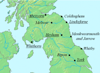 Map of Northumbria, showing the bishopric of Whithorn on the west coast, Abercorn on the north coast, Lindisfarn on the northeast coast and york in the south. The bishopric of Hexham is in the center. The abbey of Ripon is between York and Hexham and Whitby is on the coast south of Lindisfarne.