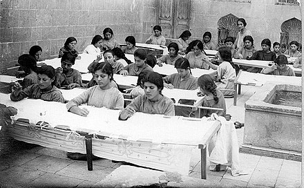 Orphan girls at the Aleppo Armenian orphanage, 1923 Aleppo Armenian orphanage 1923.jpg