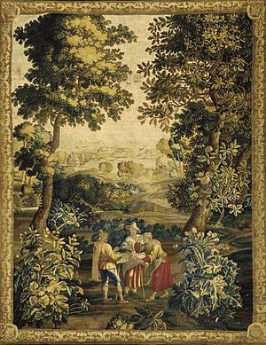 Alexander van Bredael - An eyeglass vendor, tapestry