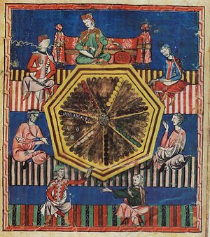 Alfonso X of Castile - The game of astronomical tables, from Libro de los juegos