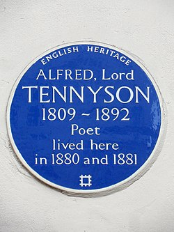 Alfred lord tennyson 1809 1892 poet lived here in 1880 and 1881
