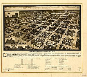 Amarillo, Texas - An aerial view of the Amarillo business district in 1912.