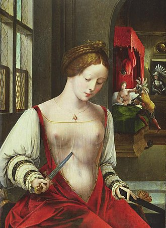 Ambrosius Benson - Death of Lucretia, date unknown. The rape that lead to Lucretia's suicide can be seen in the background.