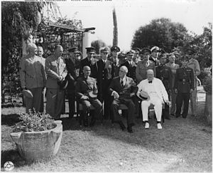 Elyesa Bazna - Allied leaders at the Cairo Conference held in Cairo, Egypt, in November 1943. Seated are Gen. Chiang Kai-shek, Franklin D. Roosevelt and Winston Churchill.