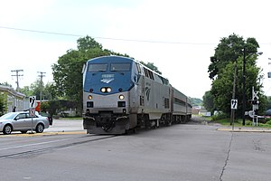 Michigan Services - The Wolverine passes through Ypsilanti on the old Michigan Central main line, now owned by the Michigan DOT.