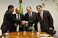 Anand Sharma in a bilateral meeting with his counterpart the Minister of Development, Industry and Foreign Trade, Brazil, Mr. Fernando Pimentel, in Brasilia, Brazil on June 11, 2012 (2).jpg